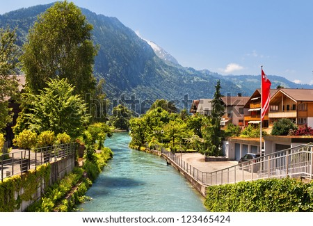 Beautiful view of the river and the house to Interlaken, Switzerland