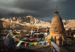 Beautiful view of the roofs of the ancient capital of the Kingdom of Lo, Upper Mustang. Nepal. Travel to explore the ancient culture of Tibet
