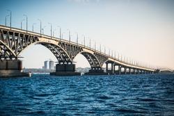 Beautiful view of the Saratov bridge across the Volga