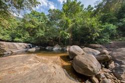 Beautiful view of the scenic landscape in Thommankuthu Waterfalls in a jungle near Thodupuzha, Kerala, India