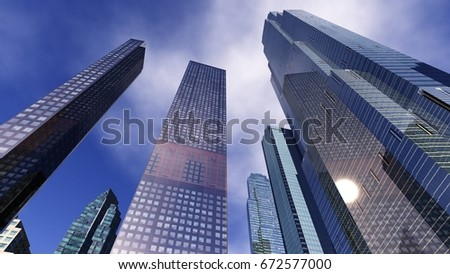 Beautiful view of the skyscrapers, modern city landscape, 3d rendering  #672577000