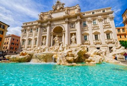 Beautiful view of the Trevi Fountain. Rome