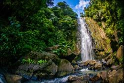 Beautiful view of Tunan Waterfall in Manado, North Sulawesi, Indonesia.