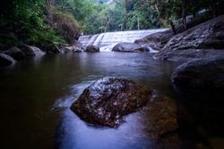 Beautiful View of Ulu Kenas Waterfall,Kuala Kangsar,Perak,Malaysia. Visible Noise,Blur when View at Full Resolution.