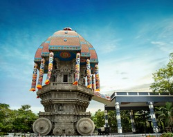 beautiful view of valluvar kottam,auditorium, monument in chennai, tamil nadu, india. the monument is 39 meter high (128 feet) stone car, Replica of the famous temple chariot of Thiruvarur.thiruvallur