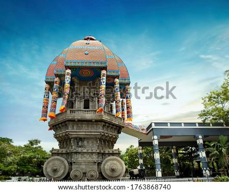 beautiful view of valluvar kottam,auditorium, monument in chennai, tamil nadu, india. the monument is 39 meter high (128 feet) stone car, Replica of the famous temple chariot of Thiruvarur.thiruvallur