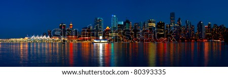 Beautiful view of Vancouver's city skyline during a blue hour - British Columbia, Canada.