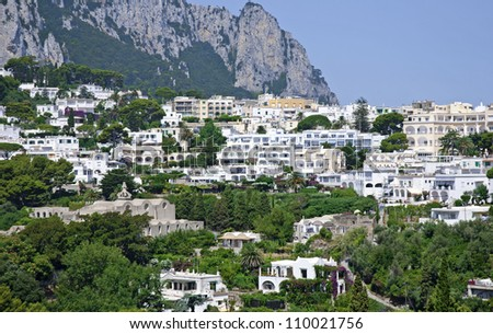 Beautiful view of villas on Capri island