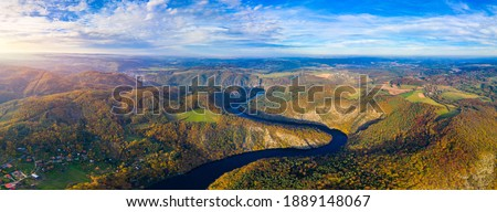 Beautiful view of Vltava river from Maj viewpoint. Czech Republic, Krnany, Europe. Maj viewpoint next to Prague in central Bohemia, Czech Republic. Aerial view of incredible Vyhlidka Maj. Stock photo ©