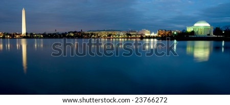 Beautiful view of Washington DC at night, showing Washington Monument, Capitol Building, and The Jefferson Memorial
