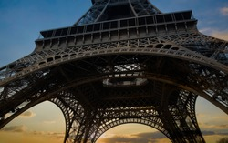 Beautiful view of  wide shot in Paris  Eiffel Tower and sunset sky scene