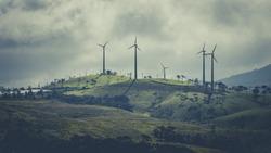 Beautiful view of wind turbines near Nuwara eliya, Sri Lanka