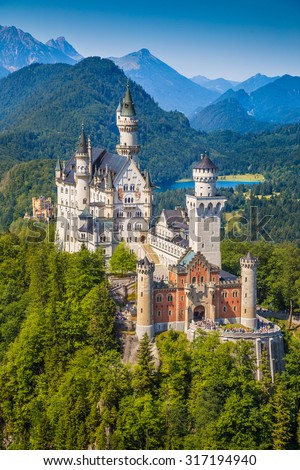 Beautiful view of world-famous Neuschwanstein Castle, the 19th century Romanesque Revival palace built for King Ludwig II, with scenic mountain landscape near Fussen, southwest Bavaria, Germany