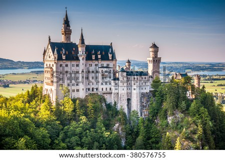 Beautiful view of world-famous Neuschwanstein Castle, the 19th century Romanesque Revival palace built for King Ludwig II, in beautiful evening light at sunset, Fussen, southwest Bavaria, Germany