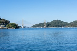 Beautiful view of Yobuko Bridge at Yobuko Port located on the Higashi Matsuura Peninsula in the northwestern part of karatsu. traditional in morning market at Yobuko, Saga, Karatsu, Kyushu, Japan