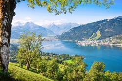 Beautiful view of Zell am See with Zeller Lake in Salzburger Land, Austria