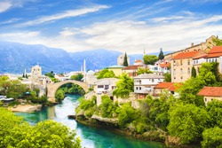 Beautiful view Old bridge in Mostar, Bosnia and Herzegovina, on a sunny day