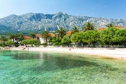 beautiful view on beach in Orebic on Peljesac peninsula in Dalmatia, Croatia