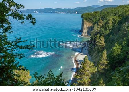 Beautiful view on Black Sea coast. The Kiselev Rock, Tuapse Russia