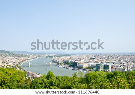 Beautiful view on Budapest and river Danube from Gellert hill