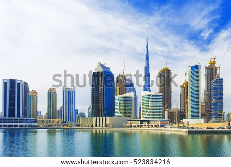 Beautiful view on Dubai modern and luxury skyscrapers in the hart of the city,Dubai,United Arab Emirates #523834216