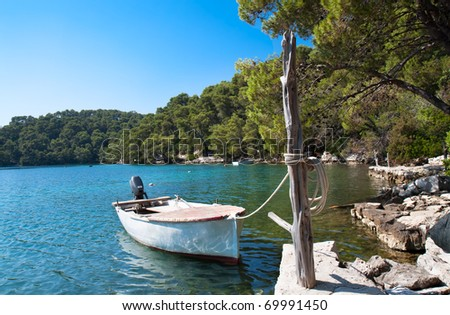 Beautiful  view on forest and the Big lake of national park on island Mljet, Croatia
