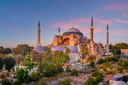 Beautiful view on Hagia Sophia in Istanbul, Turkey from top view at sunset