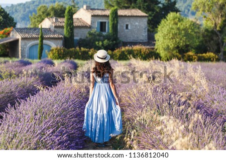 Beautiful view on Lavender fields in Provence, France. National park Luberon, Sault village. Lovely young Caucasian woman enjoying the blooming lavender fields walking. Stock photo ©