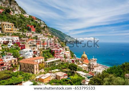 beautiful view on Positano on Amalfi coast, Campania, Italy