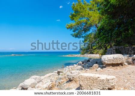 Beautiful view on the bay beach of Phaselis Antik Kenti.  Stock fotó ©