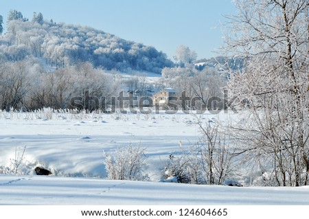 Beautiful view on the forest under snow and an old church on the top of the hill