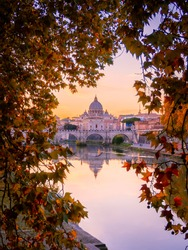 Beautiful view over St. Peter's Basilica in Vatican from Rome, Italy during the sunset in Autumn