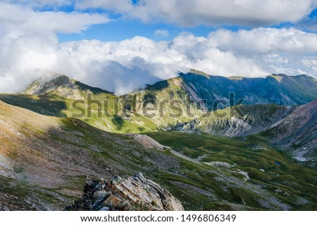 Beautiful view over the valley (Catalan Pyrenees Moutains, view from the Pic de l'Infern, Spain)