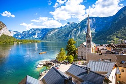 Beautiful view point of Hallstatt heritage village summer  in Austria