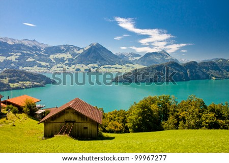 Beautiful view to Lake Lucerne (Vierwaldstattersee) and mountain Pilatus from Rigi, Swiss Alps