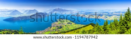 Beautiful view to Lucerne lake (Vierwaldstattersee ) and mountain Pilatus from Rigi, Swiss Alps, Central Switzerland Stock fotó ©