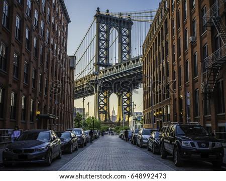 Beautiful view to Manhattan bridge #648992473