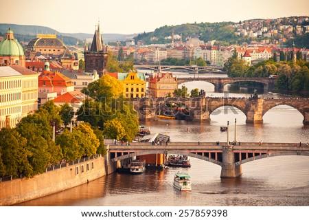 Beautiful view to Vltava and bridges in Prague, Czech republic Stock photo ©