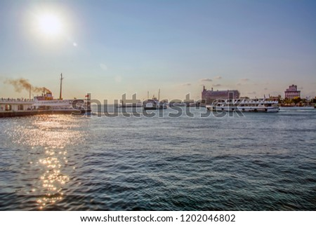 Beautiful View touristic landmarks from sea voyage on Bosphorus. Cityscape of Istanbul at sunset #1202046802
