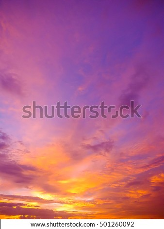 beautiful view , twilight and sunset with beautiful clouds , Thailand , Asia #501260092