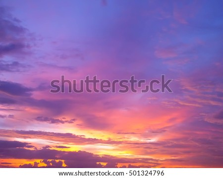 beautiful view , twilight and sunset with beautiful clouds , Thailand , Asia #501324796