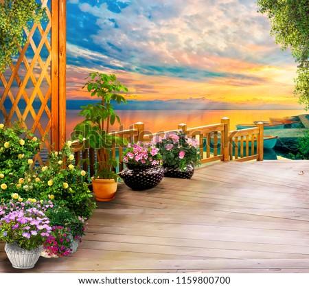 Beautiful view. Wooden terrace. Digital fresco