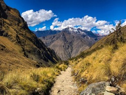 Beautiful views along the Inca Trail in Peru, Sacred Valley Peru.