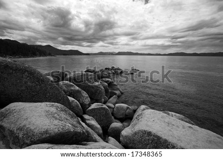 Beautiful Views of Lake Tahoe Black and White
