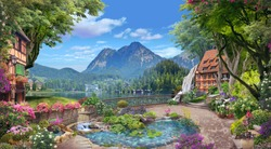 Beautiful views of the lake and mountains from the blooming garden.  Digital collage , mural and fresco. Wallpaper. Poster design. Modular panno. 3d render