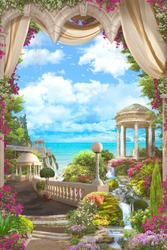 Beautiful views of the sea and a white gazebo from the terrace in pink flowers and beige curtains.  Digital collage, mural and mural. Wallpaper. Poster design. Modular panel. 3d render