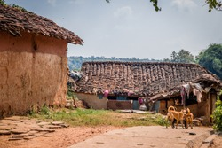 beautiful village huts made up of bricks and straw roof in alone village, panna, India