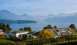 Beautiful village with the lake in Luzern, Switzerland.