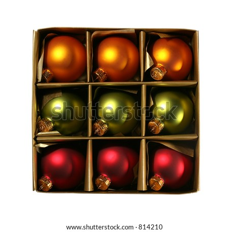 Beautiful vintage christmas ornaments in a golden box, isolated on white with clipping path