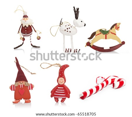 Beautiful vintage christmas toys and ornaments on white background